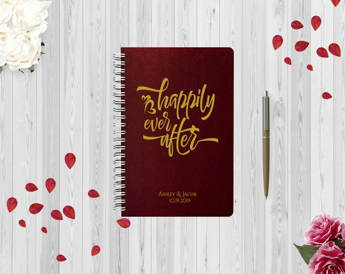 PERSONALIZED Happily Ever After Wedding Planner Book, Custom Bridal Shower Engagement Gift for Bride, Checklist Organizer Planning Journal.