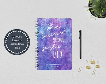 Personalized She Believed She Could So She Did Spiral Bound Journal. Inspirational Positive Quote. Hardcover Purple Watercolor. Gift for Her