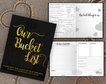 Bucket List for Couples Journal Book. Writing Prompts. Wedding Anniversary Bridal Shower Engagement Retirement Gift. Black Gold Journal