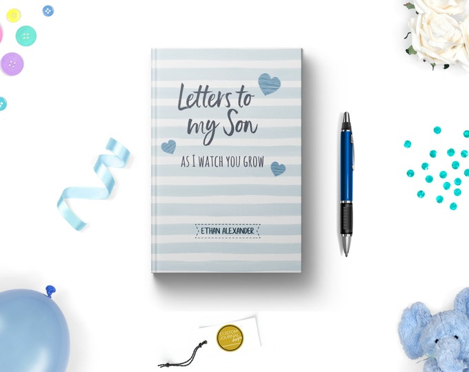 Letters to My Son Personalized Custom Name Hardcover Journal. New First Mom To Be. Boy Baby Shower Keepsake Gift Idea. Lined. Dot Grid. Blue