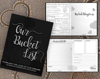 Bucket List for Couples Journal Book. Writing Prompts. Wedding Anniversary Bridal Shower Engagement Gift. Date Night. Black Silver Journal