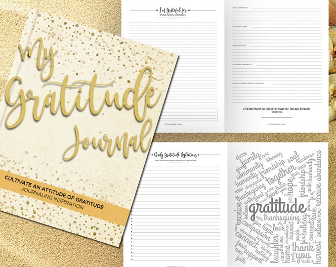 Gratitude Journal Writing Prompts. Notebook. Daily Guided Journal Book. Quotes. Thankful Journal. To Write In. Writing Journal. Cream Gold.