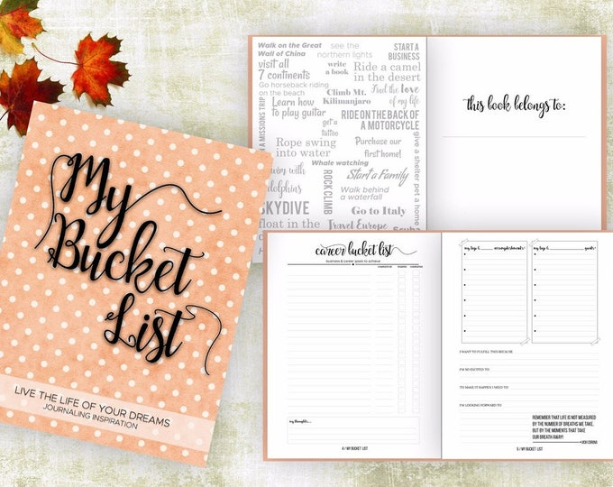 Bucket List Journal. Planner. Writing Prompts. Guided Journal. Bucket List Gift. Bucket List Notebook. Goals. Adventure gift. Orange Journal