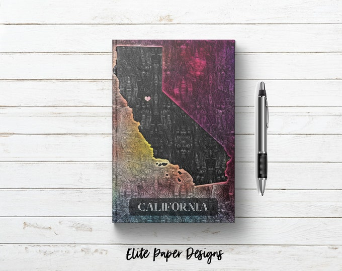 California State Map Writing Journal Book. California Design Gift. Art Print Notebook Gift.  Lined. Dot Grid. Blank. Hardcover