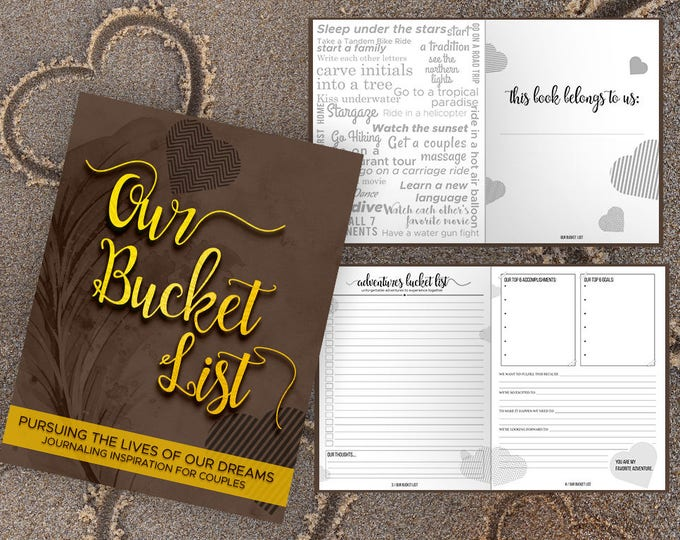 Bucket List for Couples Journal Book. Writing Prompts. Wedding Anniversary Bridal Shower Engagement Gift. Date Night. Mocha Gold Journal