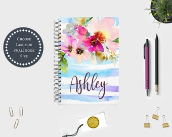 Personalized Custom Name Spiral Bound Journal. Floral Watercolor. Hardcover. Unique Woman Daughter Sister Mother Grandmother Gift Idea.