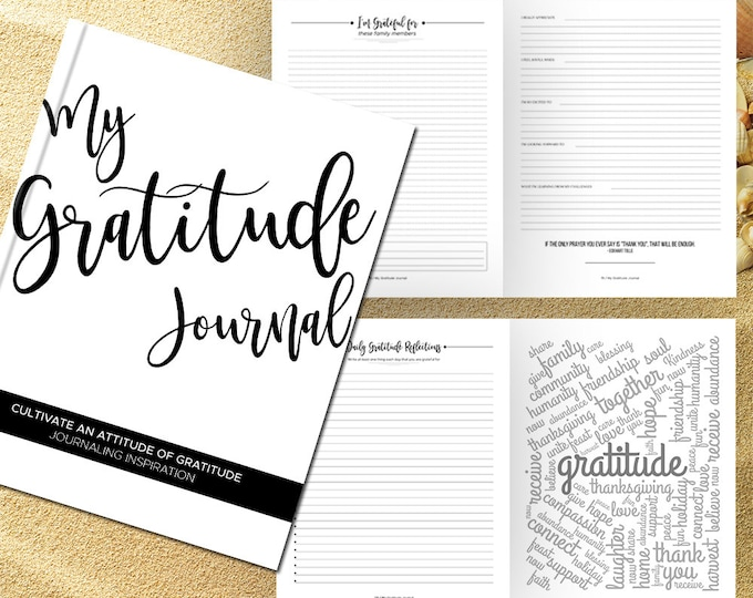 Gratitude Journal Writing Prompts. Notebook. Daily Guided Journal Book. Quotes. Thankful Journal. To Write In. Writing Journal. White Black.