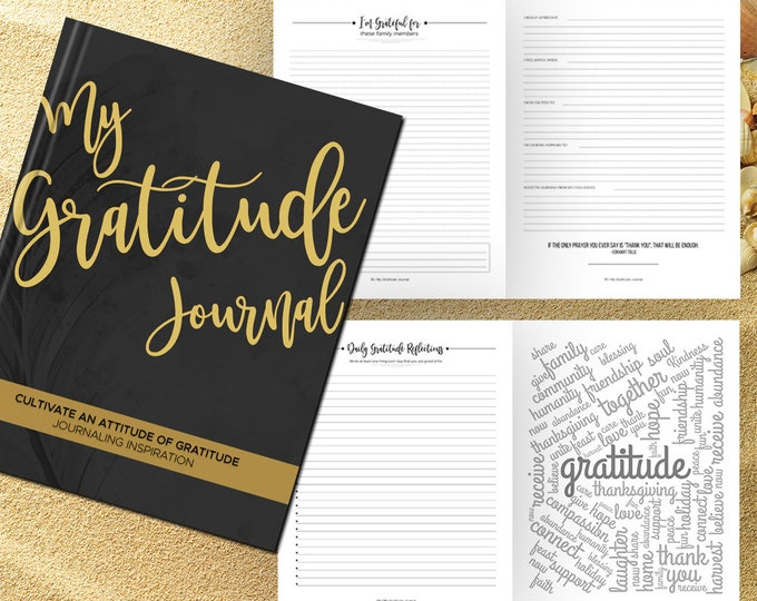 Gratitude Journal Writing Prompts. Notebook. Daily Guided Journal Book. Quotes. Thankful Journal. To Write In. Writing Journal. Black Gold