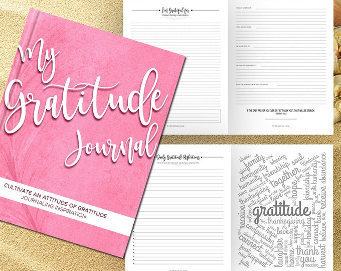 Gratitude Journal Writing Prompts. Notebook. Daily Guided Journal Book. Quotes. Thankful Journal. To Write In. Writing Journal. Rose Pink.