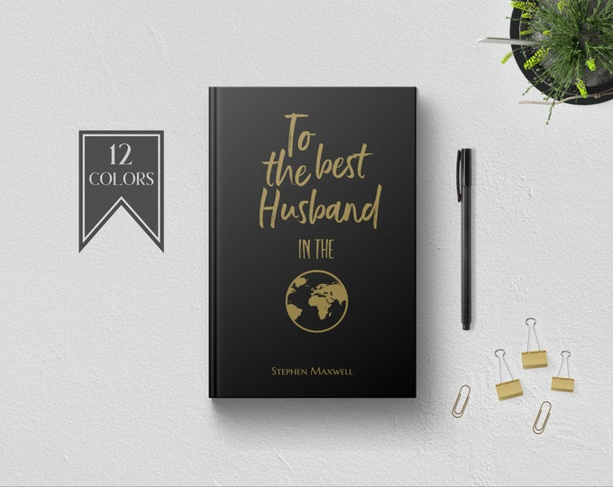 Personalized To Best Husband in World Writing Journal. Custom Name. Cute 1st Anniversary Birthday Fathers Day Gift Ideas. Love Letters Black