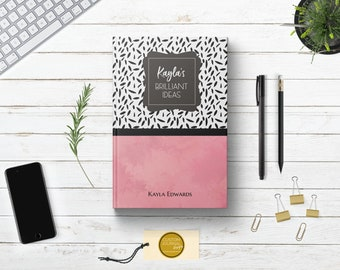 PERSONALIZED Brilliant Bright Ideas Writing Journal. Custom Name Hardcover. Lined Dot Grid. Cute Women Gift. Mom Wife Sister Daughter Girl