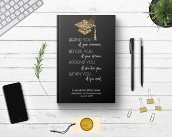 PERSONALIZED Graduate Autograph Guestbook Writing Journal. Custom Name. Unlined Blank Hardcover. Cute Graduation Gift. College High School.