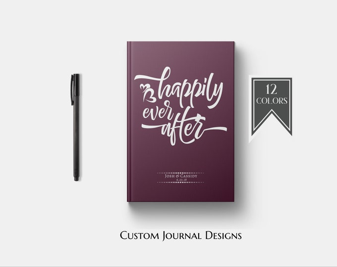 Personalized Happily Ever After Journal. Custom Couples Wedding Engagement Bridal Shower Gift. Getting Engaged. Romantic Love Words Quote.