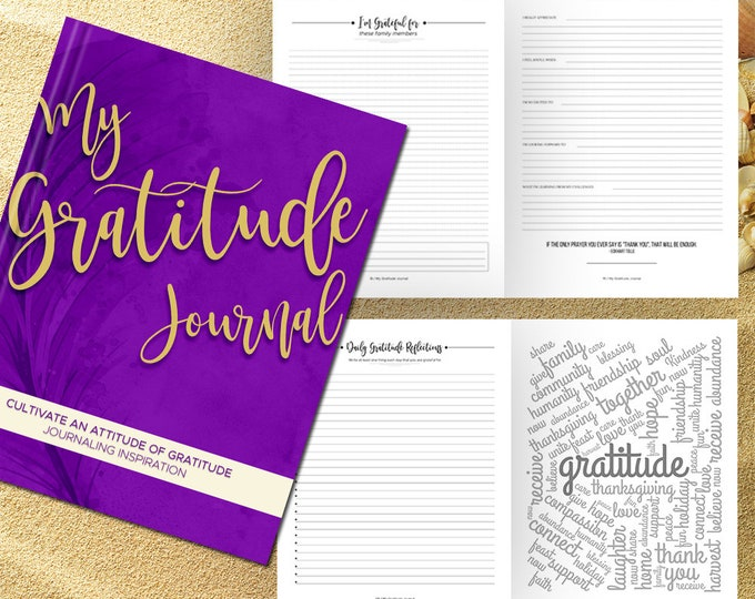 Gratitude Journal Writing Prompts. Notebook. Daily Guided Journal Book. Quotes. Thankful Journal. To Write In. Writing Journal. Purple Gold.
