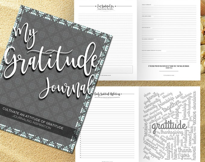 Gratitude Journal Writing Prompts. Notebook. Daily Guided Journal Book. Quotes. Thankful Journal. To Write In. Writing Journal. Gray Teal.