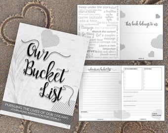 Bucket List for Couples Journal Book. Writing Prompts. Wedding Anniversary Bridal Shower Engagement Gift. Date Night. White Black Journal