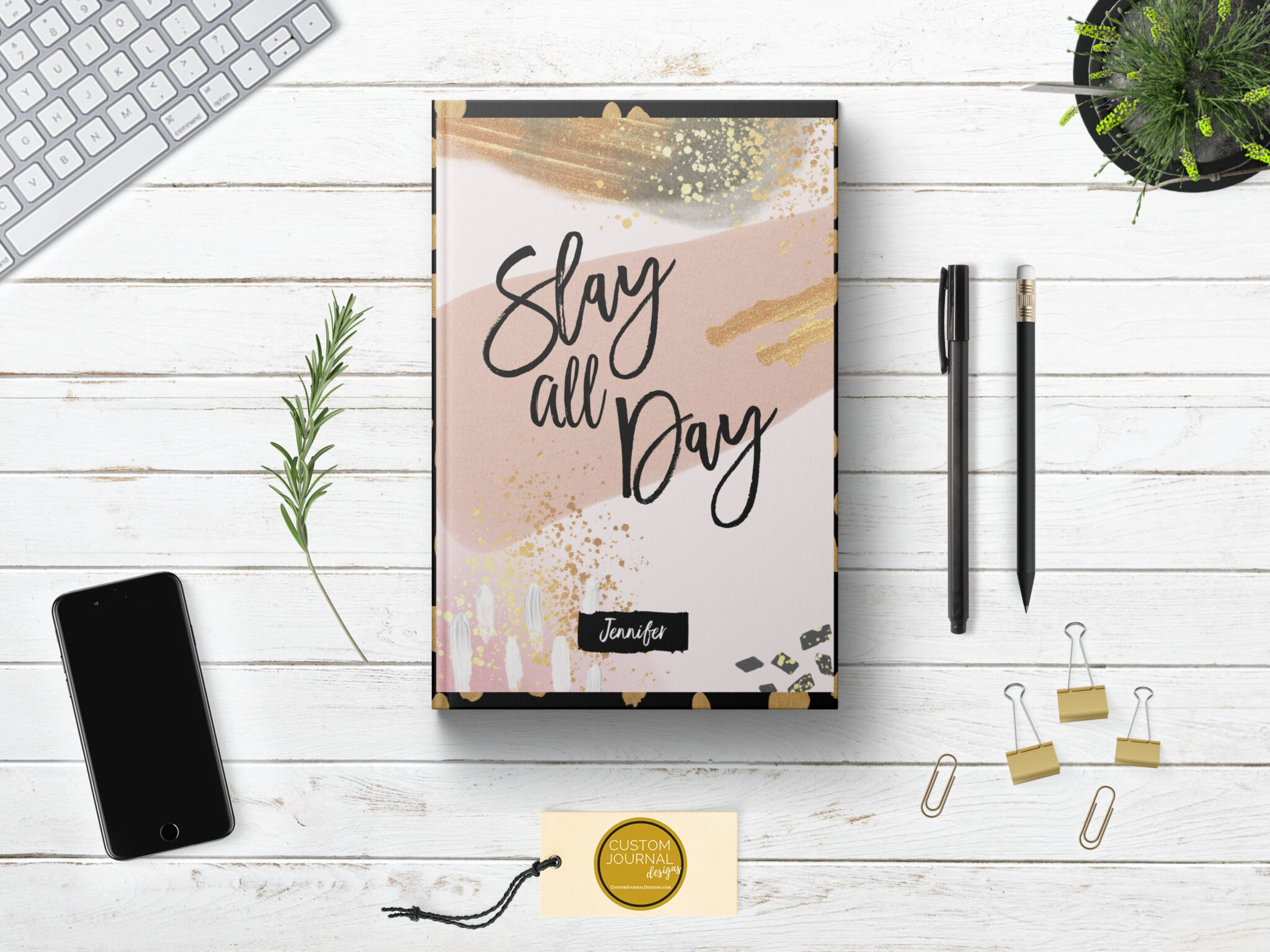 Personalized Slay All Day Writing Journal Custom Name