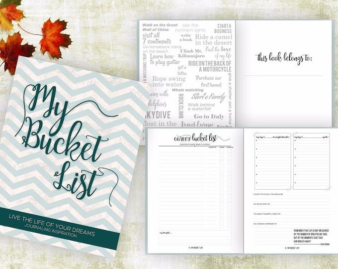 Bucket List Journal. Planner. Writing Prompts. Guided Journal. Bucket List Gift. Bucket List Notebook. Goals. Adventure gifts. Green Journal