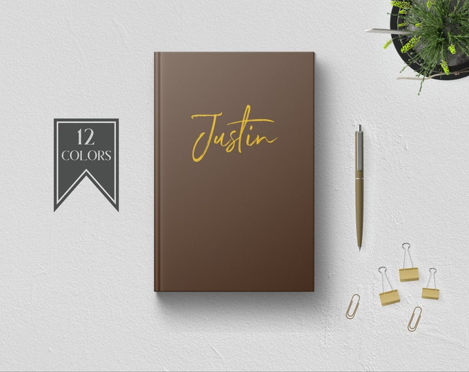 Personalized Hardcover Writing Journal for Men. Custom Name. Cute Gift for Him. Husband Boyfriend Uncle Brother Boss Father Coworker Pastor.