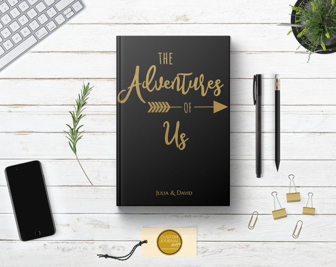 Personalized Adventures of Us Couples Journal Book Custom Name. Anniversary Engagement Bridal Shower Gift. Getting Engaged Romantic Notebook