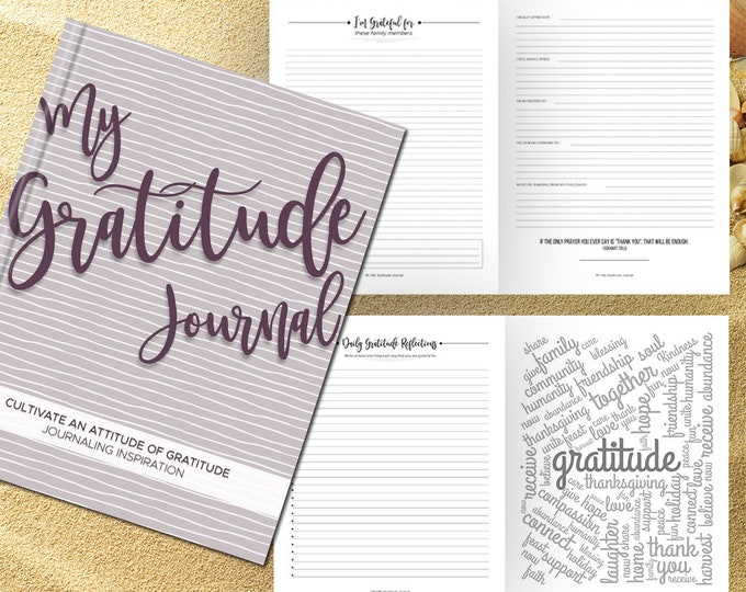 Gratitude Journal Writing Prompts. Notebook. Daily Guided Journal Book. Quotes. Thankful Journal. To Write In. Writing Journal. Plum Gray.