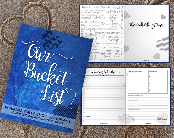 Bucket List for Couples Journal Book. Writing Prompts. Wedding Anniversary Bridal Shower Engagement Gift. Date Night. Royal Blue Journal