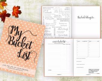 Bucket List Journal. Planner. Writing Prompts. Guided Journal. Bucket List Gift. Bucket List Notebook. Goals. Adventure gift. Orange Journal