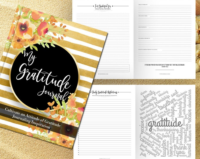 Gratitude Journal Writing Prompts. Notebook. Daily Guided Journal Book. Quotes. Thankful Journal. To Write In. Writing Journal. Gold Stripe.