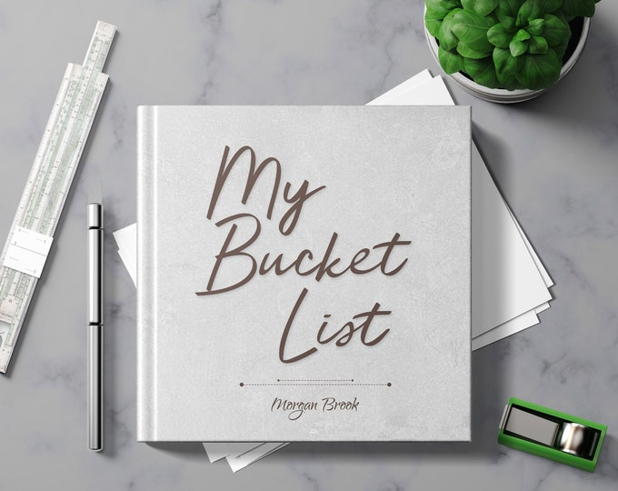 Bucket List Journal with Writing Prompts. Personalized Custom Name. Birthday Retirement Graduation Idea. Male Boss Men Women Grey Hardcover