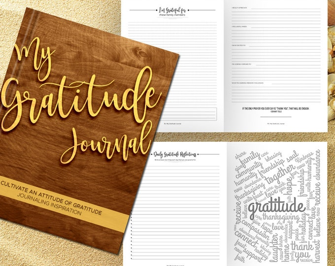 Gratitude Journal Writing Prompts. Notebook. Daily Guided Journal Book. Quotes. Thankful Journal. To Write In. Writing Journal. Wood Brown.