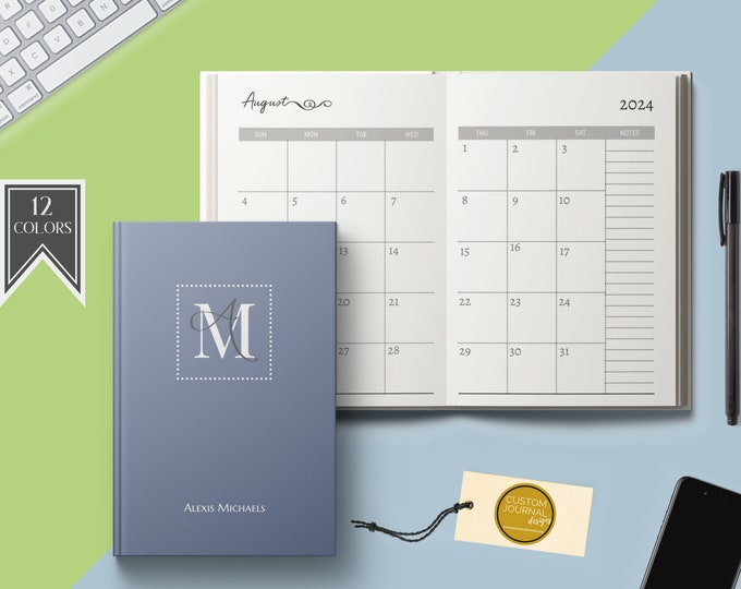 2022-2026 Five Year Monthly Planner Calendar. Personalized Custom Name Monogram Letters. Hardcover 60 Months 5 Year Planning Journal Notes.