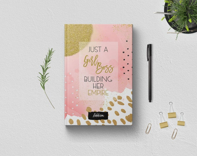 PERSONALIZED Just A Girl Boss Building Her Empire Writing Journal. Custom Name. Women Her Sister Boss Babe Gift Idea. Pink Gold Hardcover