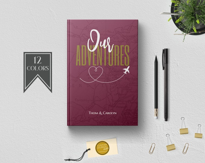 Personalized Our Adventures Couples Travel Keepsake Journal Book. Anniversary Engagement Bridal Shower Gift Idea