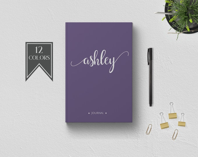 Personalized Writing Journal. Custom Name Hardcover. Lined Dot Grid. Cute Gift for Her - Mom Wife Sister Daughter Best Friend Boss Teacher.