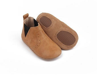 Tan Baby Boot | Toddler Boot | Newborn Baby Shoe | First Walker | Waxed Leather | Soft Soled | Baby Boy Shoe | Baby Girl Shoe | Non Slip