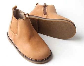 Tan Boot   Kids Leather Boot   Waxed Leather   Rubber Sole   Tan Toddler Boot    Little Boy   Little Girl   Non Slip   Kids Leather Shoe