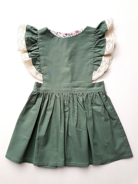 Victorian Kids Costumes & Shoes- Girls, Boys, Baby, Toddler Sage Pinafore Dress $33.56 AT vintagedancer.com