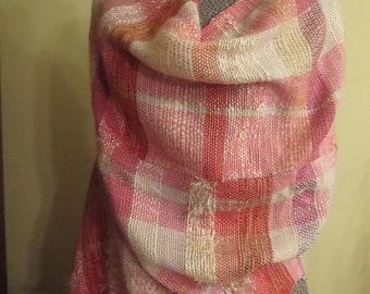 Three-way shawl. Saori inspired, Canadian Weaver.