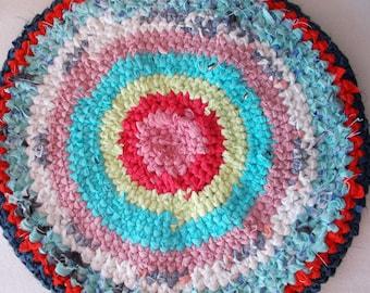 2 - Vintage wool rag rugs small size, handmade