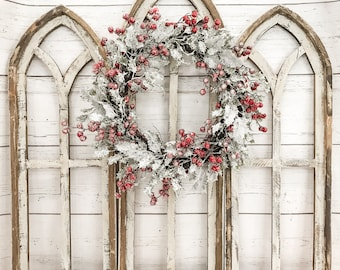 Cathedral Farmhouse Style Christmas Wood Window Frame