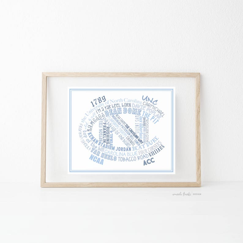 graphic about Unc Basketball Schedule Printable identify Printable Artwork Print, UNC Artwork Print, Typographical Artwork Print, Higher education of North Carolina, Tar Heels, Carolina Blue, NC, Commencement Present