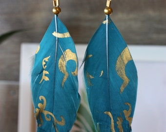 Blue and gold patterned feather earrings