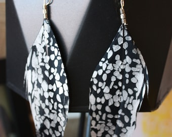 Silver and black spotted metallic feather earrings