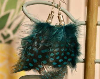 Blue and black spotted feather earrings with silver bead