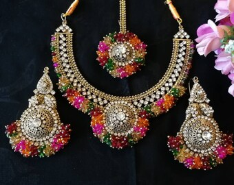 999bdfbf1bffba Ramleela multi mehndi Latest bridal Indian Jewellery set Pakistani bridal  jewelry wedding sets earrings necklace tika set gold pearl jewelry