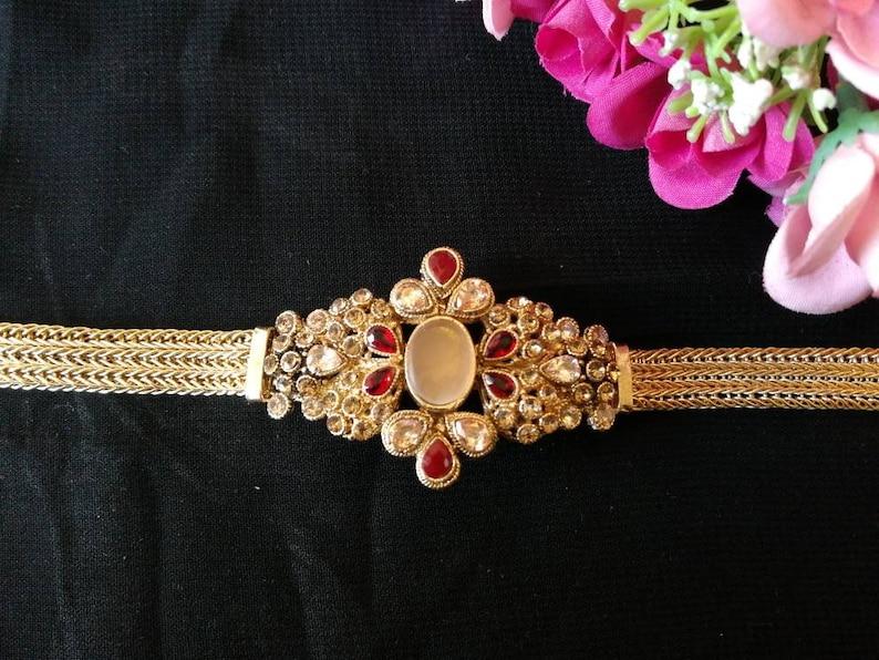 Exclusive Beautiful semi precious stone bracelet hand bracelet Cuff bracelet Indian jewelry Pakistani jewelry zircon bracelet gold polished