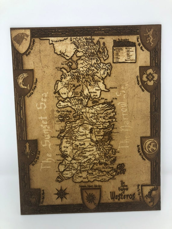 Wooden Laser Engraved Game Of Thrones Map Of The 7 Kingdoms Of Westeros Got