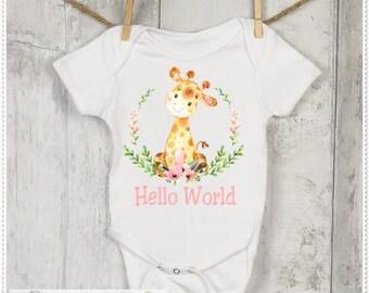 Girls Giraffe Bodysuit, Infant Giraffe, Baby Hello World, Giraffe Baby Hello World, Girls Baby Shower Gift, Cotton Baby Bodysuit