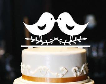 Love Birds Cake Topper, Wedding Cake Topper, Engagement Cake Topper, Anniversary Cake Topper, Gold Cake Topper