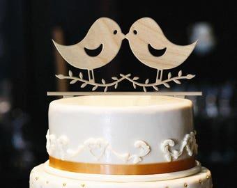 Love Birds Cake Topper, Wood Wedding Cake Topper, Bird Cake Topper, Anniversary Cake Topper, Love Birds Wedding Cake Topper